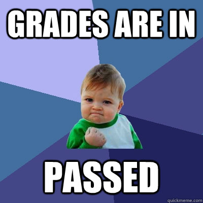 grades are in passed - Success Kid
