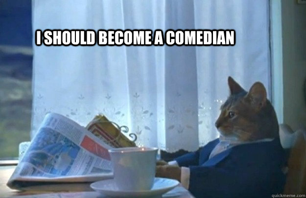 i should become a comedian - Sophisticated Cat