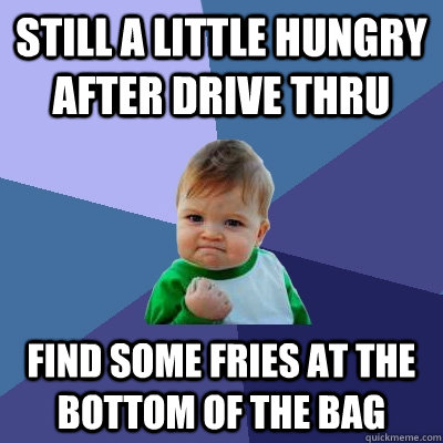 still a little hungry after drive thru find some fries at th - Success Kid