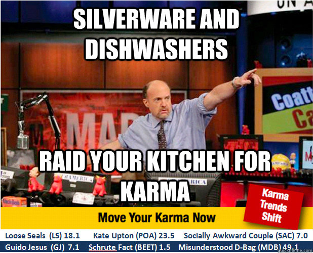 silverware and dishwashers raid your kitchen for karma - Jim Kramer with updated ticker