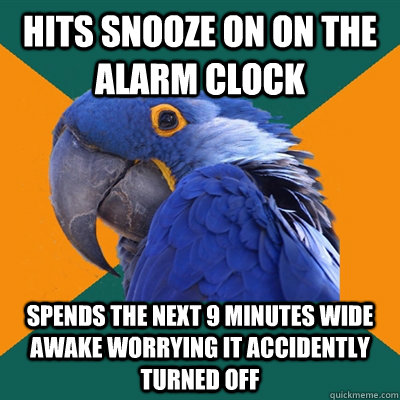 hits snooze on on the alarm clock spends the next 9 minutes  - Paranoid Parrot