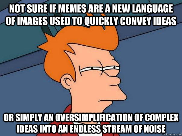 not sure if memes are a new language of images used to quick - Futurama Fry