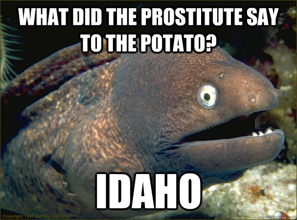 what did the prostitute say to the potato idaho - Bad Joke Eel