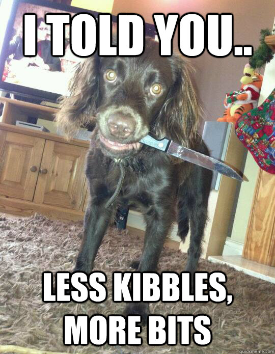 i told you less kibbles more bits - 