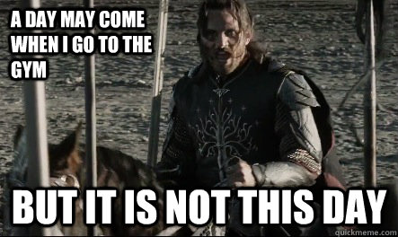 a day may come when i go to the gym but it is not this day - Not This Day Aragorn