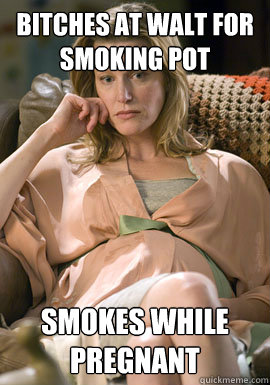 bitches at walt for smoking pot smokes while pregnant - Scumbag Skyler