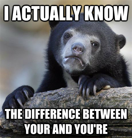 i actually know the difference between your and youre - Confession Bear