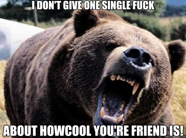 i dont give one single fuck about howcool youre friend i - ANGRY BEAR