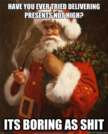 have you ever tried delivering presents not high its boring - Stoner Santa