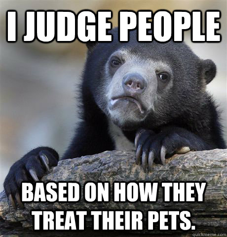 i judge people based on how they treat their pets - Confession Bear