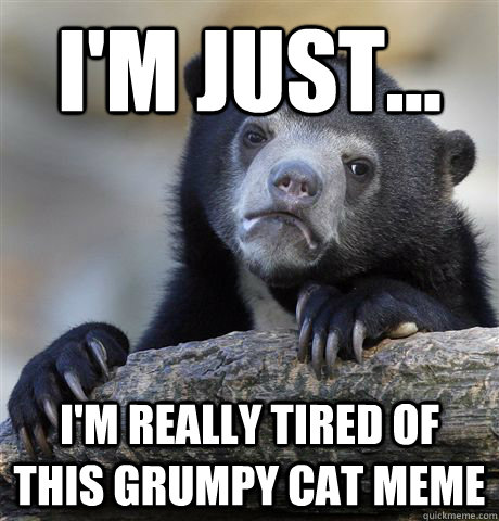 im just im really tired of this grumpy cat meme - Confession Bear