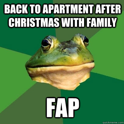 back to apartment after christmas with family fap - Foul Bachelor Frog
