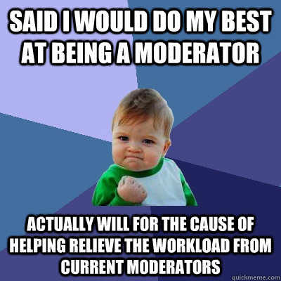 said i would do my best at being a moderator actually will f - Success Kid