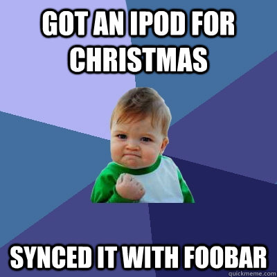 got an ipod for christmas synced it with foobar - Success Kid