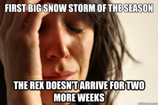 first big snow storm of the season the rex doesnt arrive fo - First World Problems