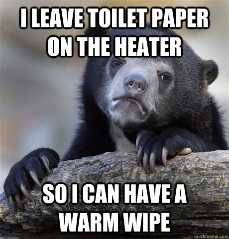 i leave toilet paper on the heater so i can have a warm  - Confession Bear