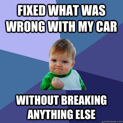 fixed what was wrong with my car without breaking anything e - Success Kid