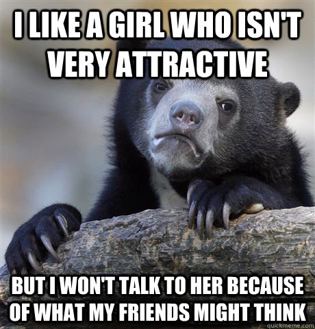 i like a girl who isnt very attractive but i wont talk to  - Confession Bear