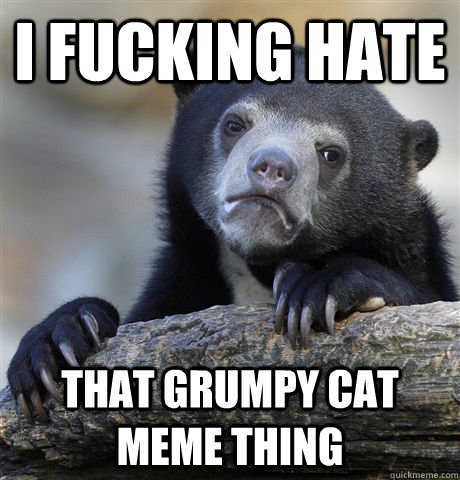 i fucking hate that grumpy cat meme thing - Confession Bear