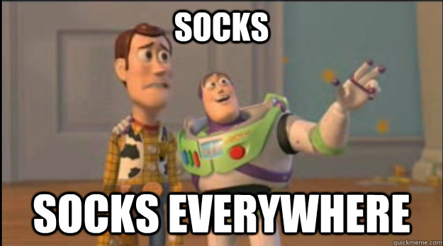 socks socks everywhere - buzz and woody