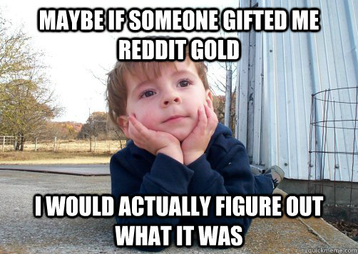 maybe if someone gifted me reddit gold i would actually figu -