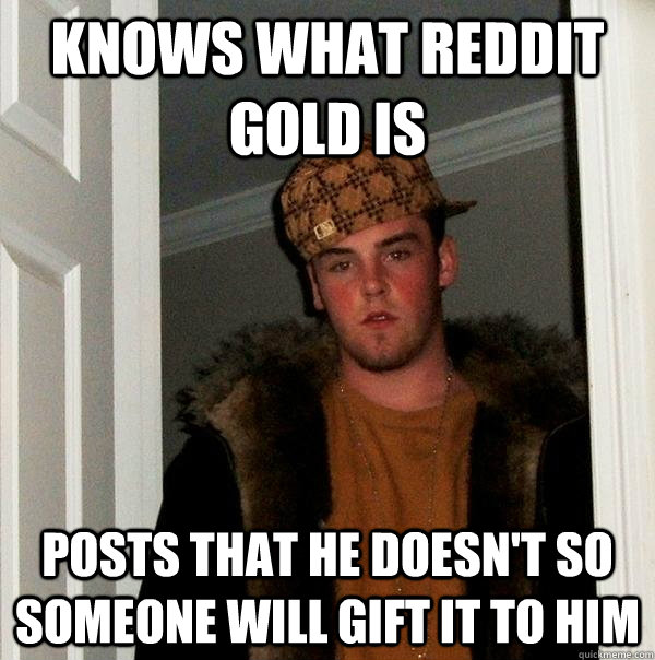 knows what reddit gold is posts that he doesnt so someone w - Scumbag Steve