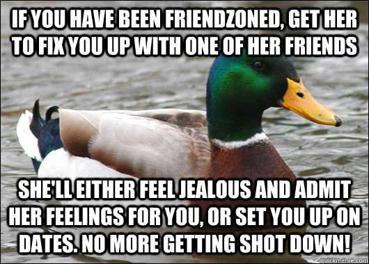 if you have been friendzoned get her to fix you up with one - Actual Advice Mallard
