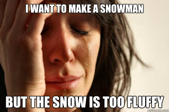 i want to make a snowman but the snow is too fluffy - First World Problems