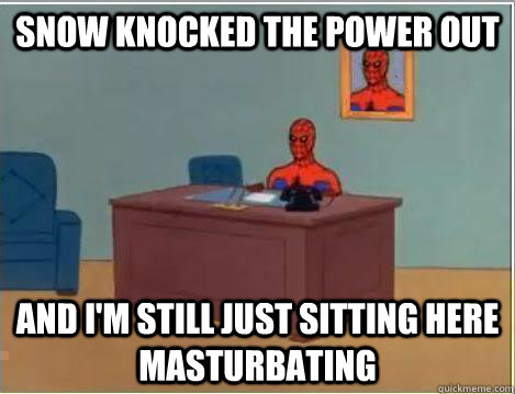 snow knocked the power out and im still just sitting here m - Amazing Spiderman
