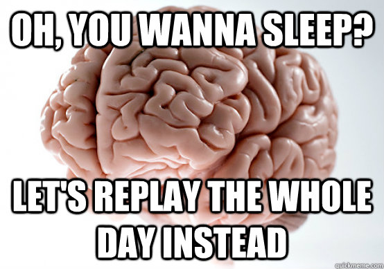 oh you wanna sleep lets replay the whole day instead - Scumbag Brain make you late to work