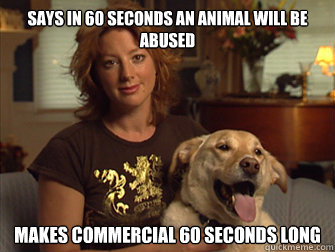 says in 60 seconds an animal will be abused makes commercial - Sarah Mclachlan