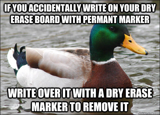 if you accidentally write on your dry erase board with perma - Actual Advice Mallard