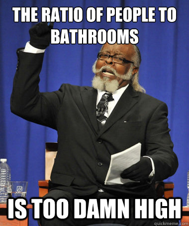 the ratio of people to bathrooms is too damn high - The Rent Is Too Damn High