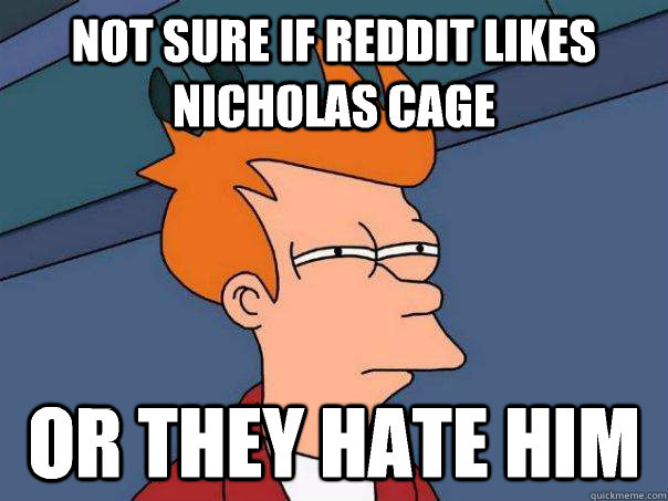 not sure if reddit likes nicholas cage or they hate him - Futurama Fry