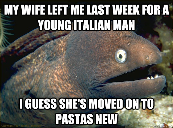my wife left me last week for a young italian man i guess sh - Bad Joke Eel