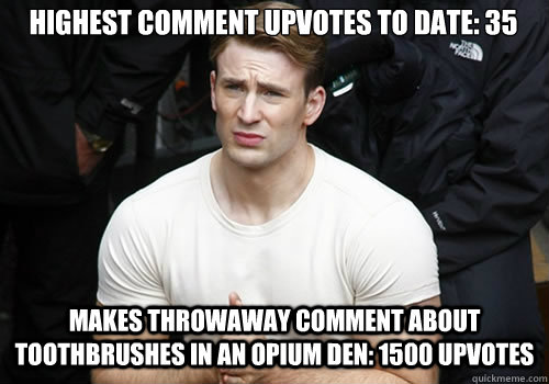 highest comment upvotes to date 35 makes throwaway comment  - Confused Captain