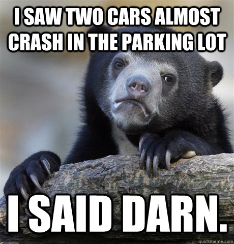 i saw two cars almost crash in the parking lot i said darn - Confession Bear