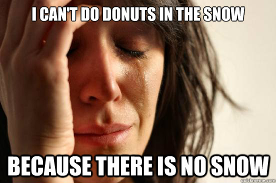 i cant do donuts in the snow because there is no snow - First World Problems