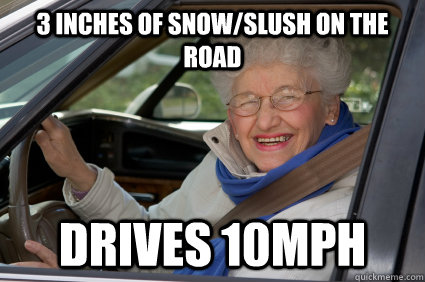 3 inches of snowslush on the road drives 10mph - South Florida Driver