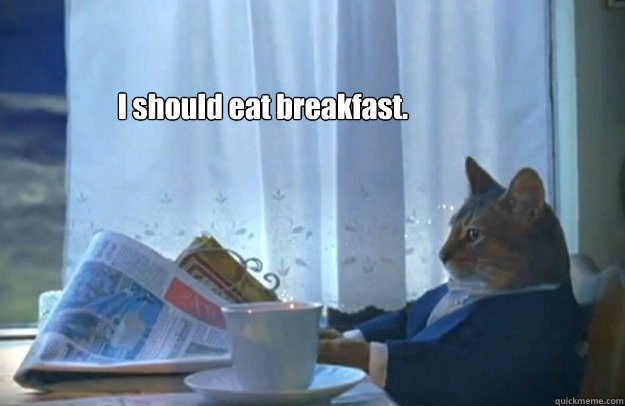 i should eat breakfast - Sophisticated Cat