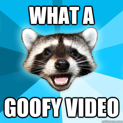 what a goofy video - Lame Pun Coon