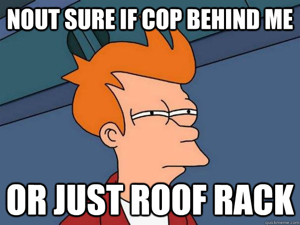 nout sure if cop behind me or just roof rack - Futurama Fry