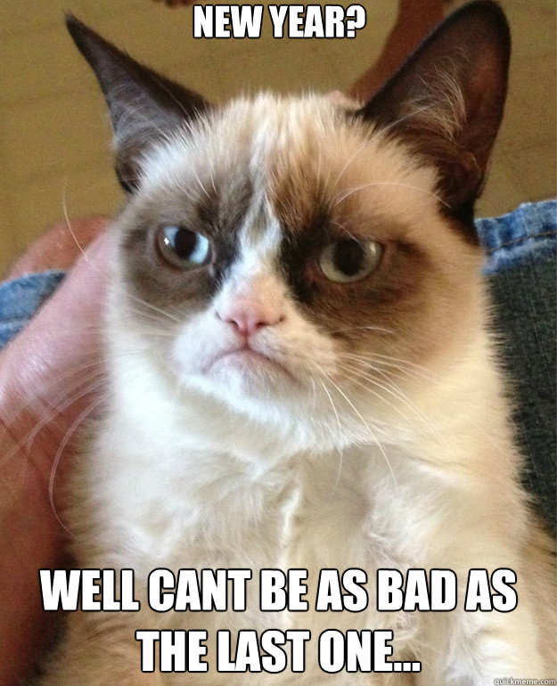 new year well cant be as bad as the last one - Grumpy Cat