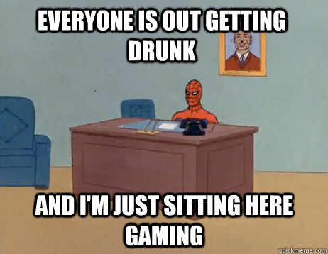 everyone is out getting drunk and im just sitting here gami - Masturbating Spiderman