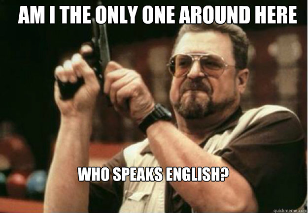 am i the only one around here who speaks english - Am I the Only one