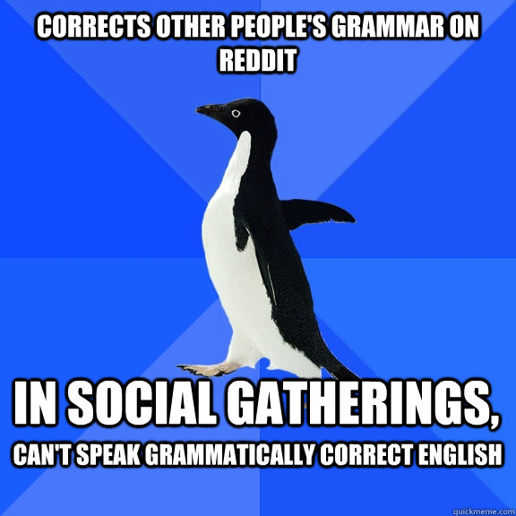 corrects other peoples grammar on reddit in social gatherin - Socially Awkward Penguin