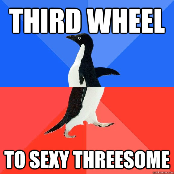 third wheel to sexy threesome - Socially Awkward Awesome Penguin