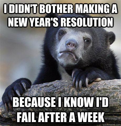 i didnt bother making a new years resolution because i kno - Confession Bear