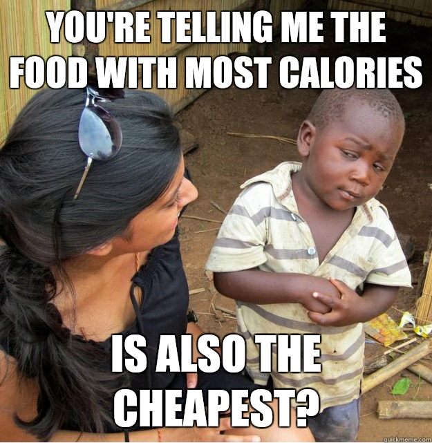 Youre telling me the food with more calories Is also the che - Skeptical Third World Kid