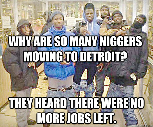 why are so many niggers moving to detroit they heard there  - 